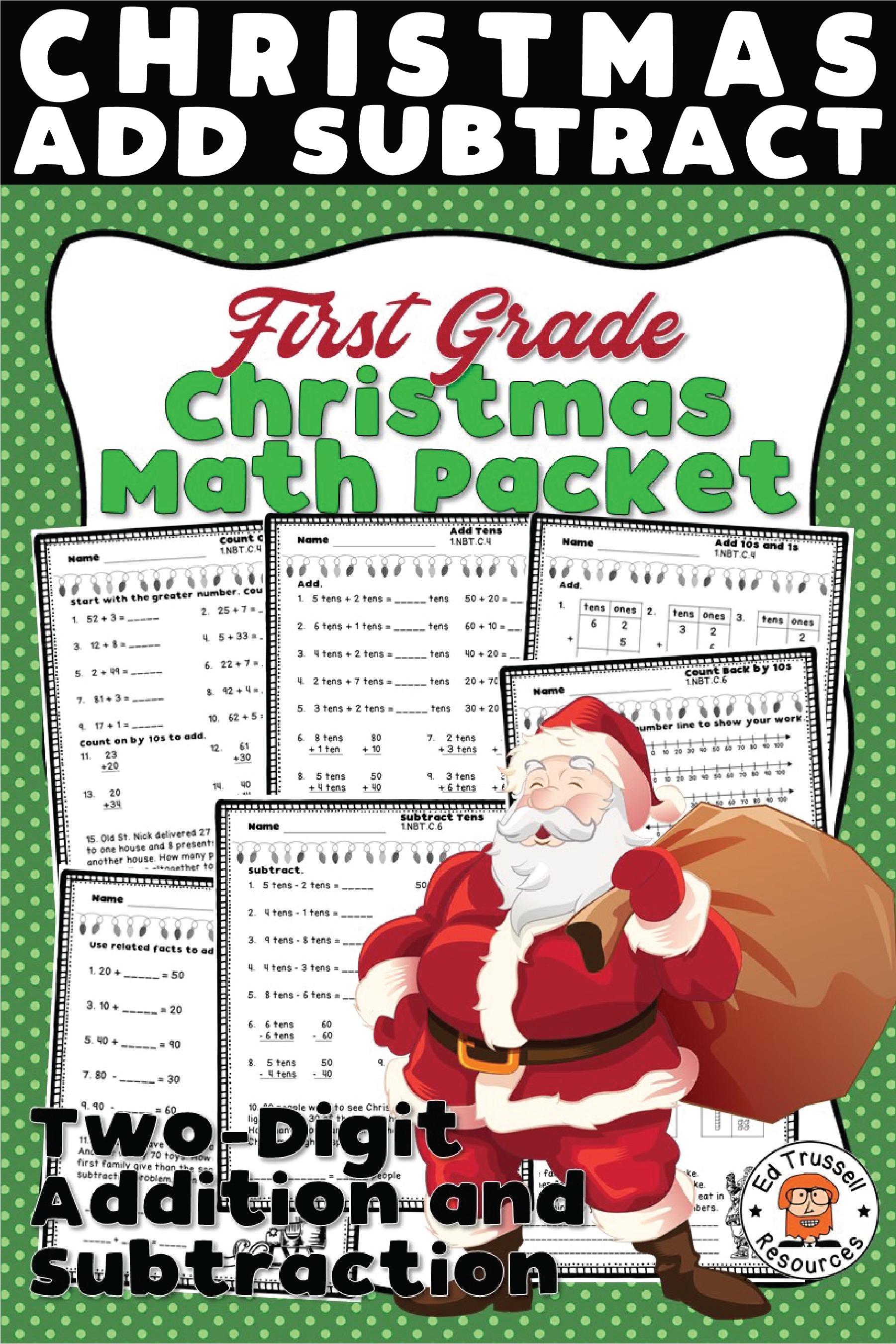 First Grade Christmas Math Worksheets Two Digit Addition