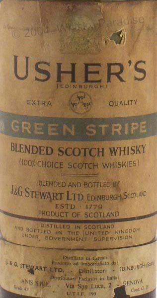 Early bottling of Usher's Green Stripe J Stewart Edinburgh Scotch Whisky