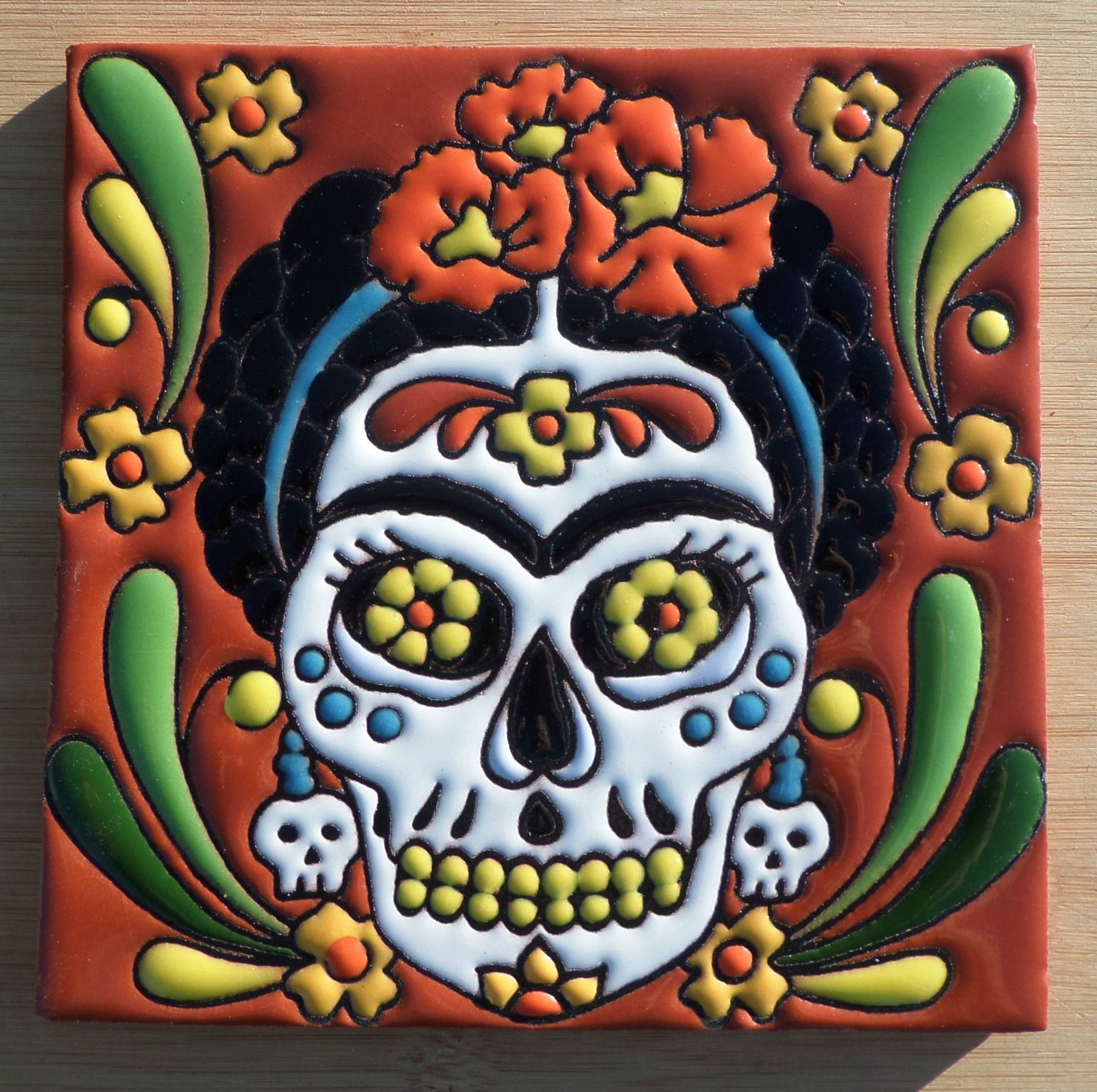 Talavera mexican tile 6 day of the dead high relief frida kahlo talavera mexican tile 6 day of the dead high relief frida kahlo dailygadgetfo Choice Image
