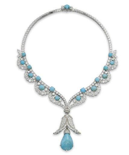 A CHARMING TURQUOISE AND DIAMOND NECKLACE, BY VAN CLEEF & ARPELS