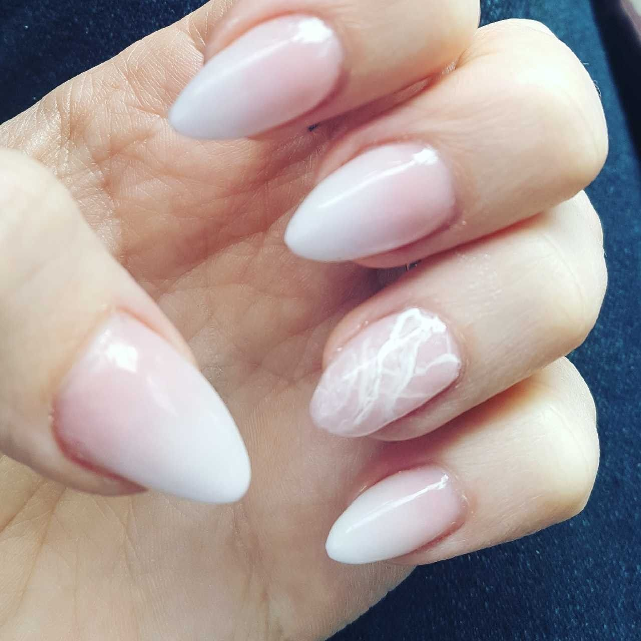 Pink And White Fade With Rose Quartz Accent Rose Quartz Nails Quartz Nail Faded Nails