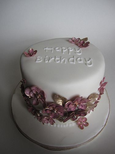 Pink gold birthday cake by vanessaanne via Flickr Cakes