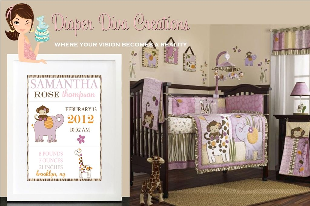 Birth Announcement Nursery Wall Art Decor To Match The Cocalo Jacana Bedding Set