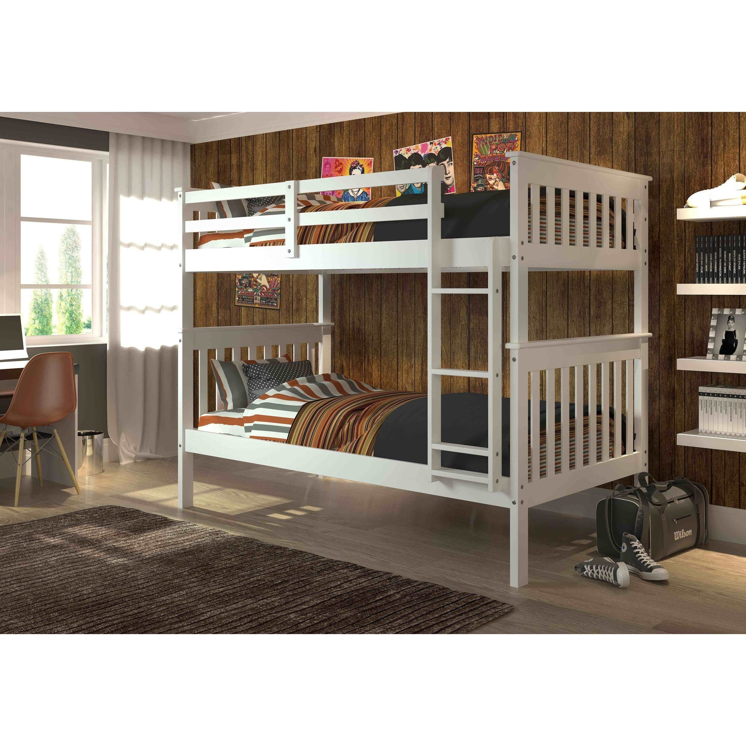 Donco Kids Mission Twin Twin Bunk Bed Brown Cappuccino Finish
