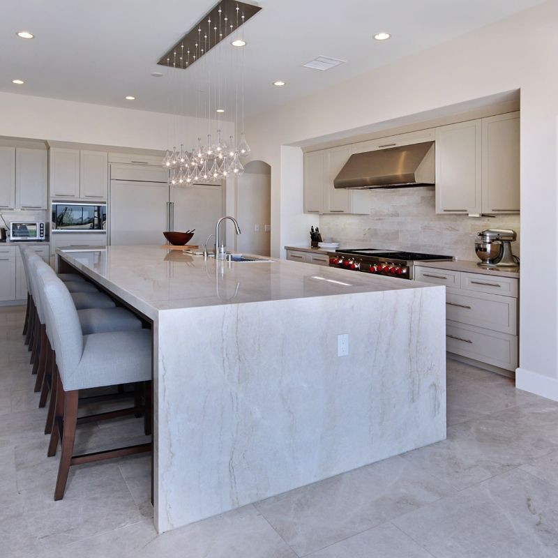 Oversized Islands With An Overhang Increase A Kitchen S Functionality And Entertaining Capabilities I Quartzite Countertops Kitchen Design Kitchen Countertops