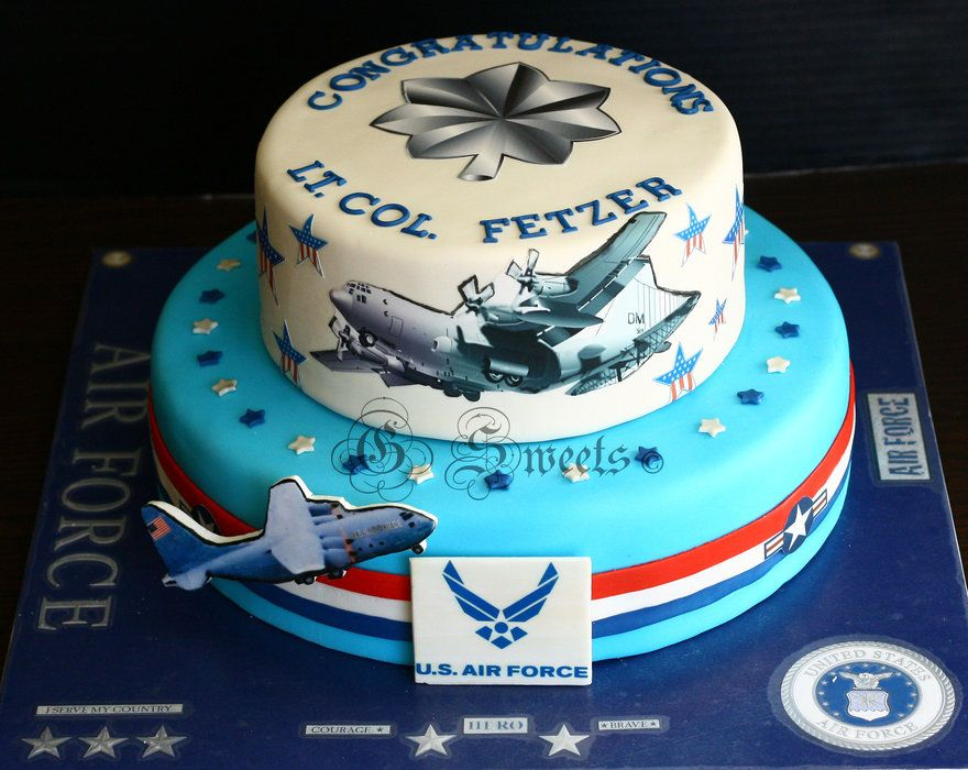 Fabulous air force cake for retirement or promotion done for Air force cakes decoration