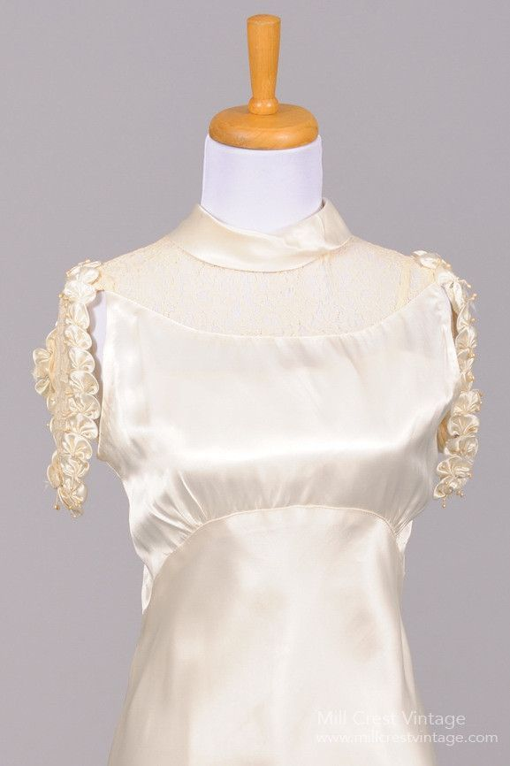 1930 Silk Satin Cascade Vintage Wedding Gown