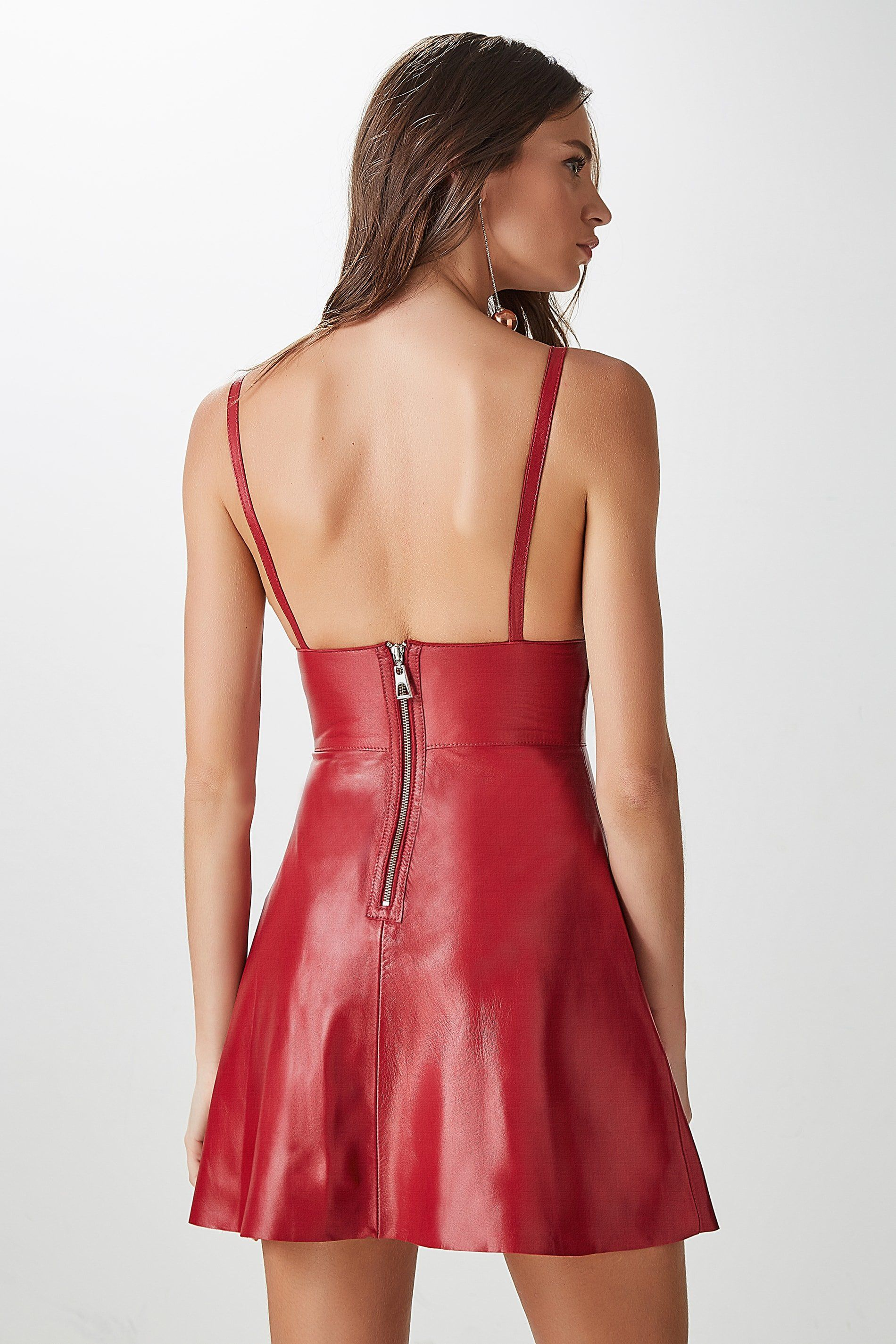186fd7e0a4b Backless flared red leather minidress