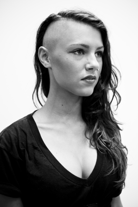 ya so i want my hair like this... just... not completly bald on the side.... ..i want it like and inch or two.. and spikey :3