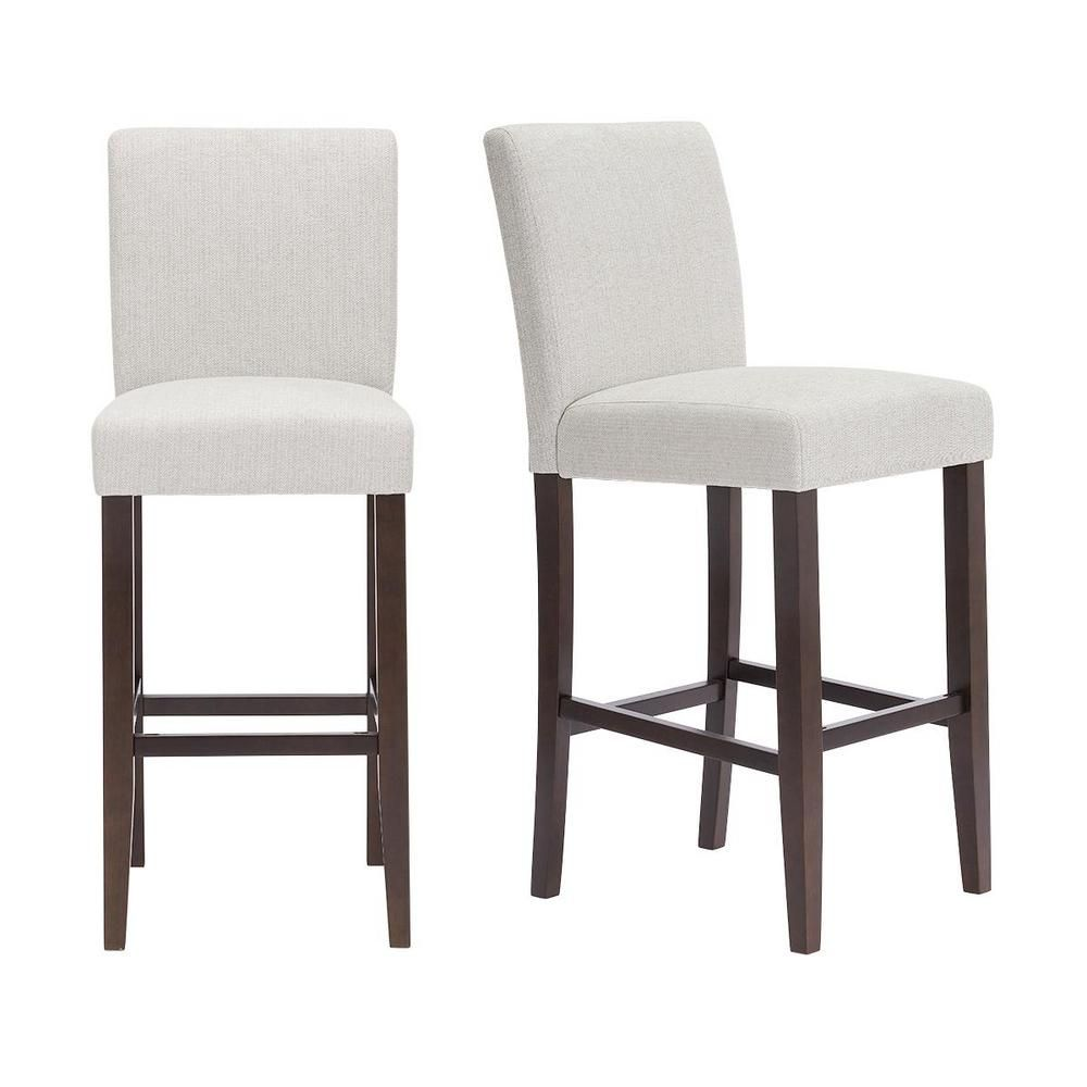 Stylewell Banford Sable Brown Wood Upholstered Bar Stool With Back And Riverbed Brown Seat Set Of 2 17 51 In W X 44 29 In H Riverbed Sable Upholstered Bar Stools Bar Stools With