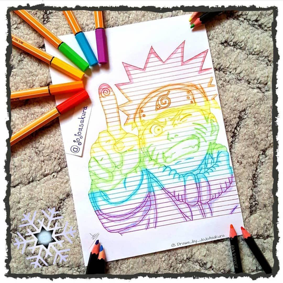 Amazing art from Naruto Uzumaki in a rainbow style <3  Art from Instagram.