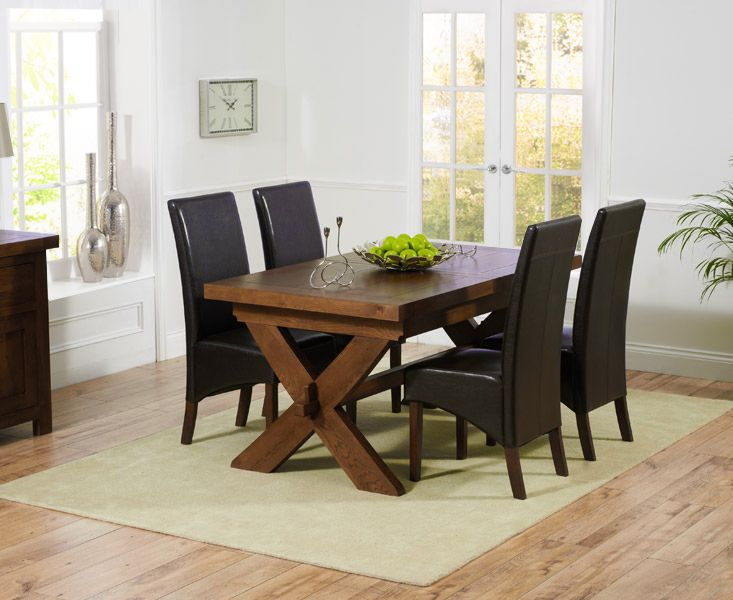 bordeaux 160cm dark solid oak extending dining table with wng chairs - Dark Oak Dining Table
