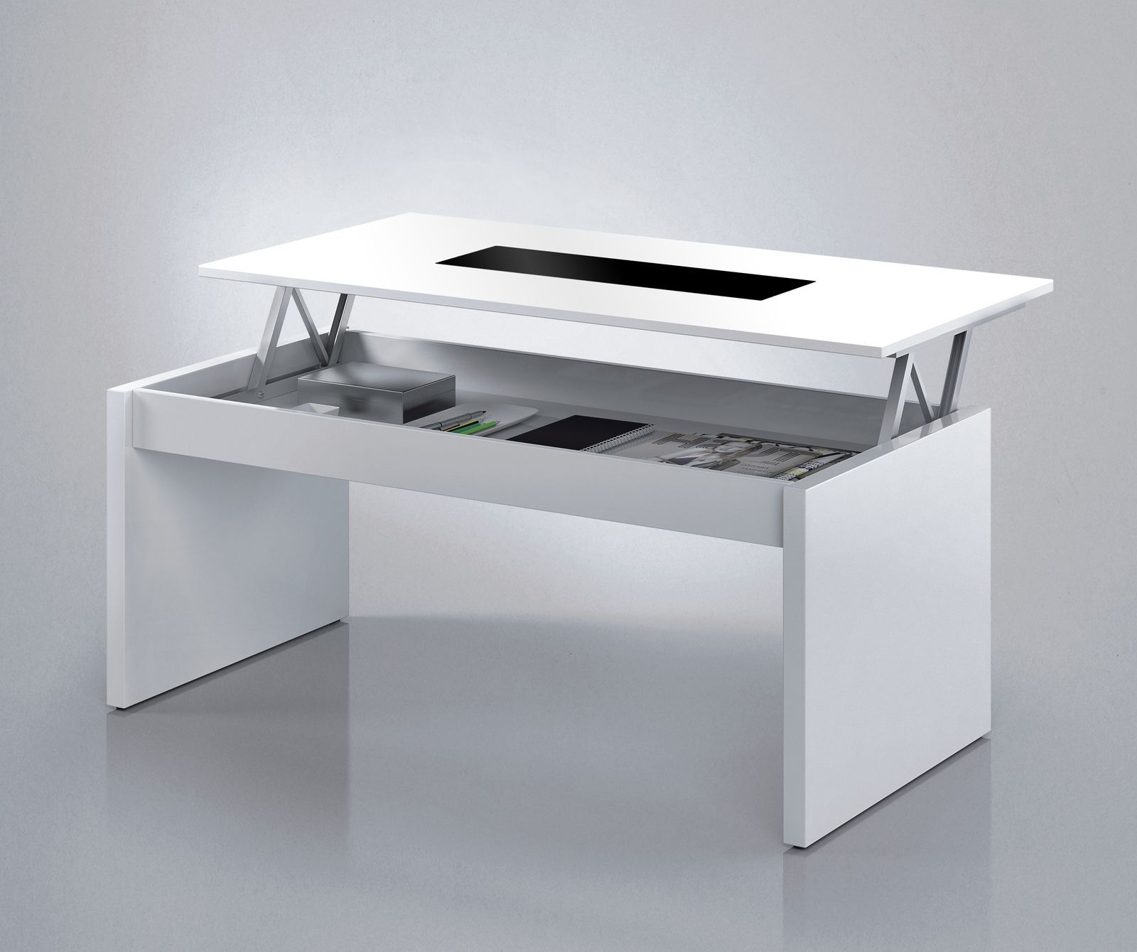 Lucia Lift Up Coffee Table Storage Modern Whiteglass Lounge Riser