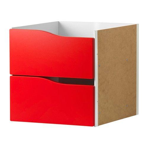 Sitzwürfel Ikea kallax einsatz mit 2 schubladen rot kallax insert drawers and