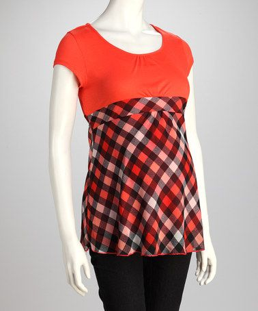 Look what I found on #zulily! Orange Gingham Maternity Babydoll Top by QT Maternity #zulilyfinds