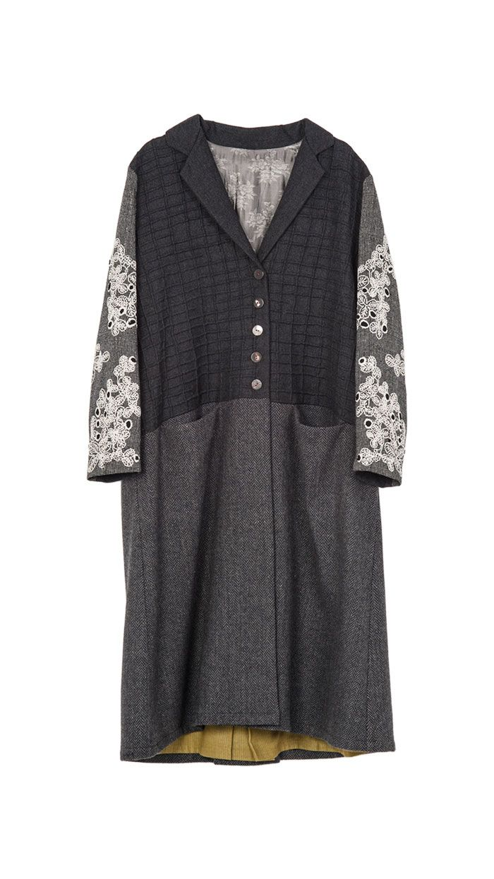 Flannel cardigan womens  Wool flannel and silk overcoat with embroidery  my style