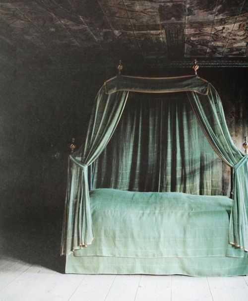 Dusty Green velvet bed