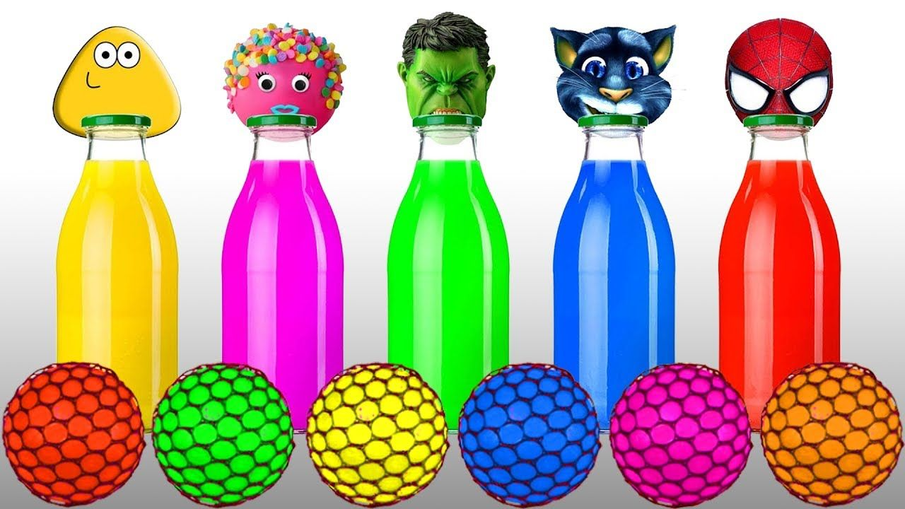 Learn Colors with Squishy Balls and Wrong Heads Pou, Cake Pop, Hulk ...