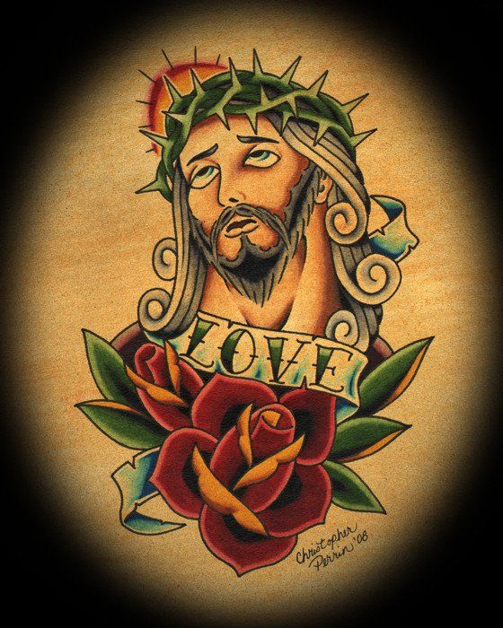 Jesus Crown of Thorns by Christopher Perrin Religious Tattoo Art Print – moodswingsonthenet