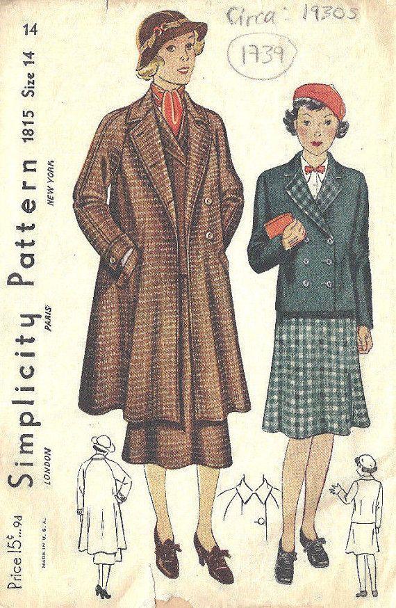 1930s Vintage Sewing Pattern B32\