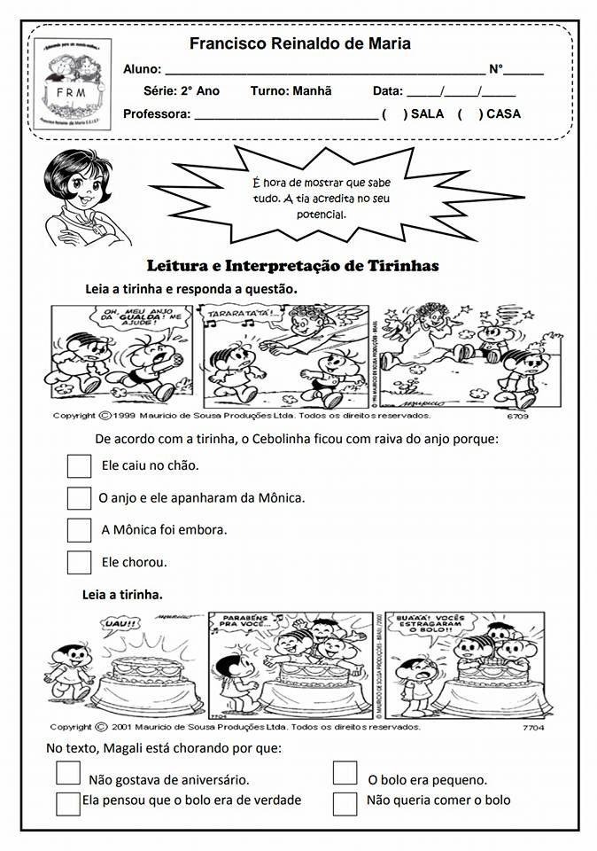 Leitura E Interpretacao De Tirinhas Atividades Para Imprimir