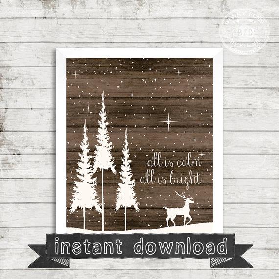 DIY PRINTABLE, Silent Night, Calm and Bright, Christmas Printable, Holiday Printable,Instant Download, Holy Night, Christmas, Holiday