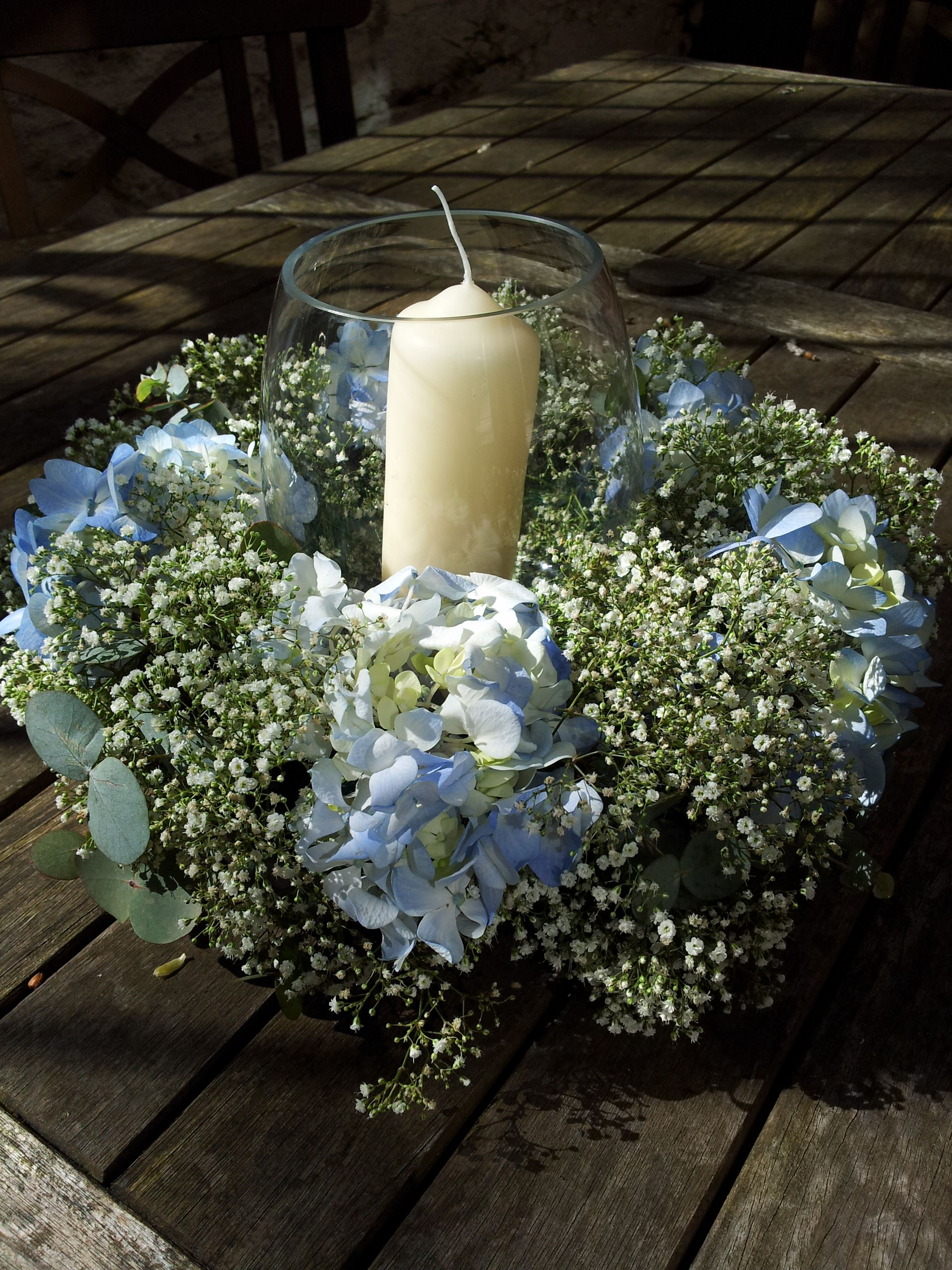 Table centrepiece of baby s breath and hydrangeas around a
