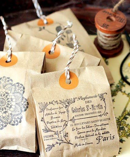 Great packaging idea! Print any image or words onto a paper bag. Punch a hole. Add a ribbon or twine. From Come Home Soap