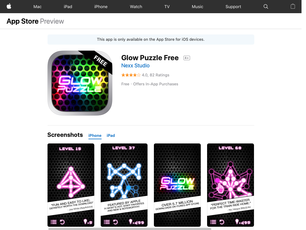 Glow Puzzle. Free app for use on iphone or android logic