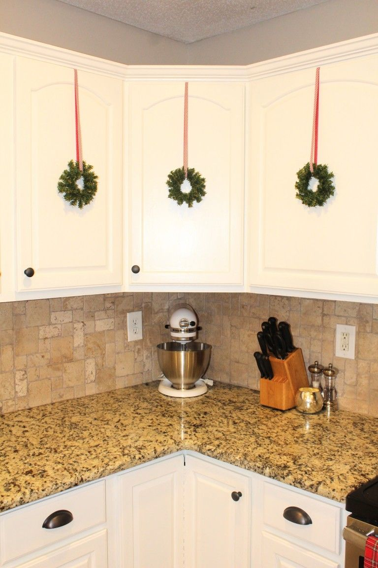 Festive Holiday Kitchen Cabinet Wreaths Diy Project Holiday Kitchen Diy Kitchen Cabinets Kitchen Cabinets