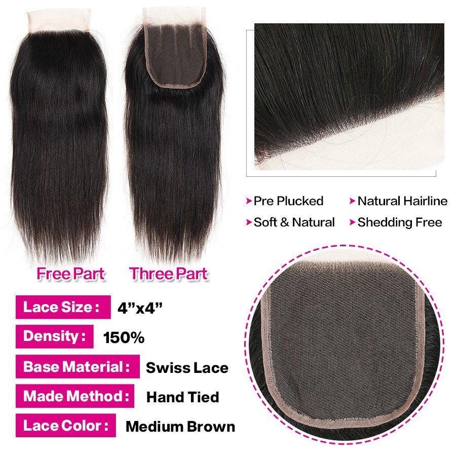 New Fashion Alipearl Hair 100% Human Hair Bundles With Closure Malaysian Straight Hair Weave 3 Bundles Remy Hair Extensions Natural Black Hair Extensions & Wigs
