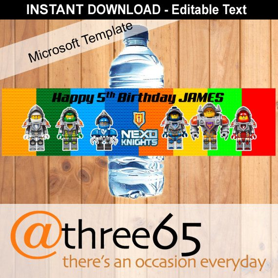 Printable Lego Nexo Knights Water Bottle Labels by ...