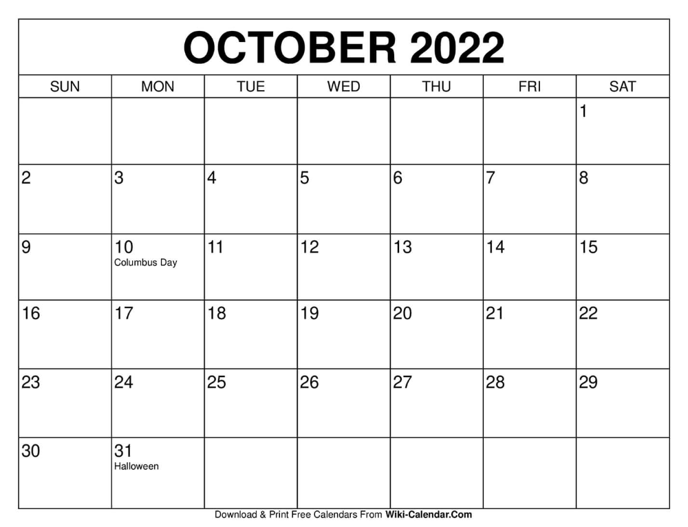 Free Printable October 2020 Calendars in 2020 October