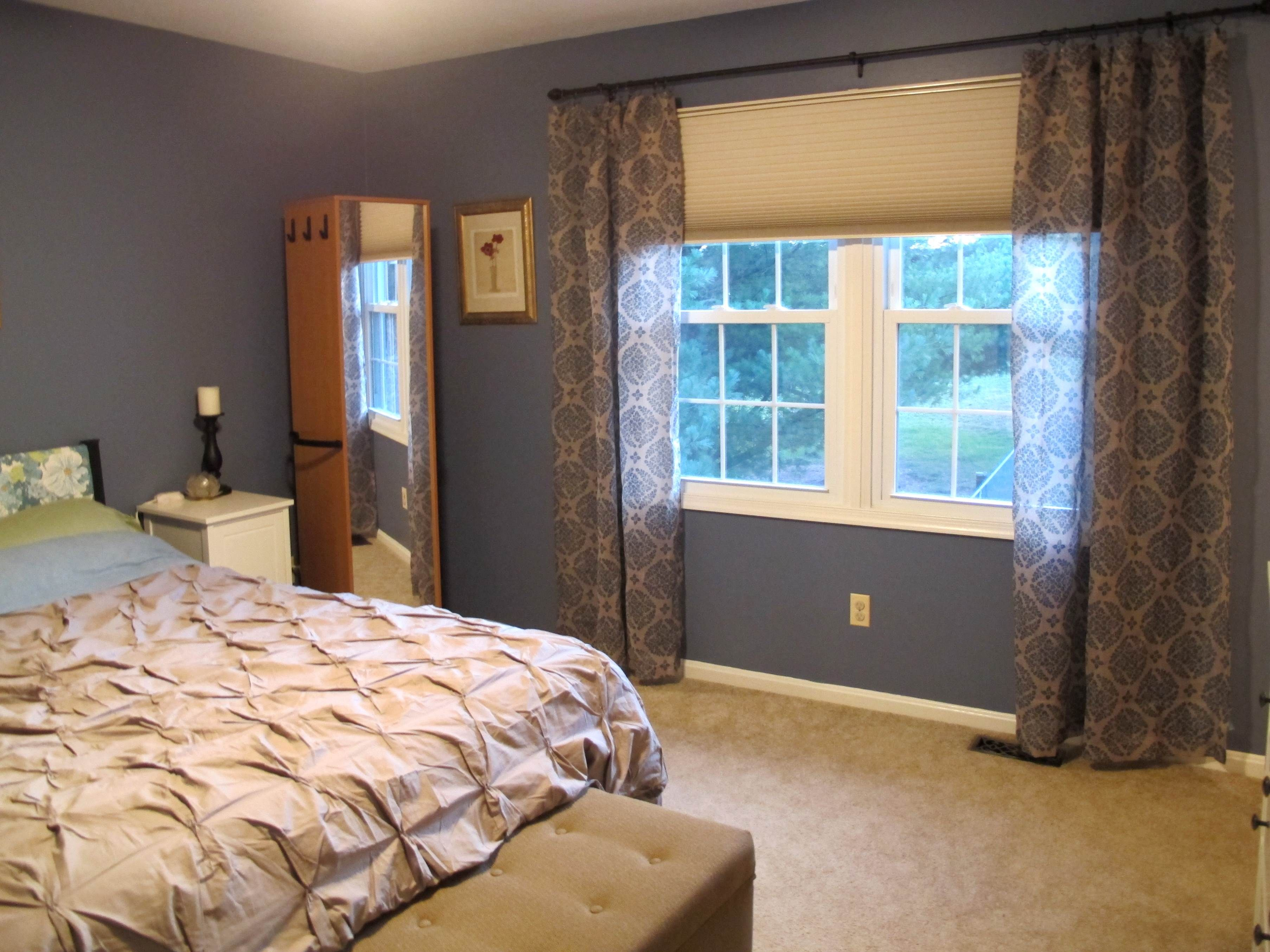 bedroom decorating ideas gray and large windows curtain white master