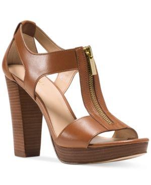 d6e8b6e7b32d5 Michael Michael Kors Berkley T-Strap Platform Dress Sandals - Brown 7.5M