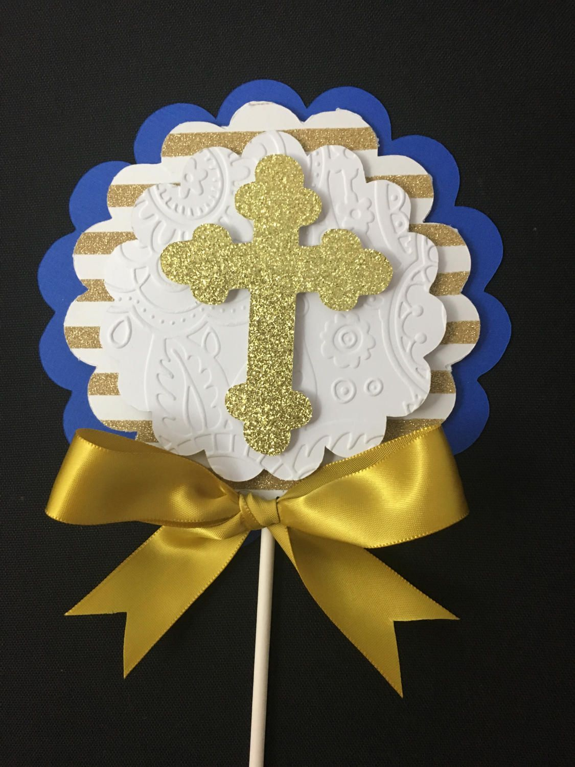 Baptism centerpieces stick royal blue and gold