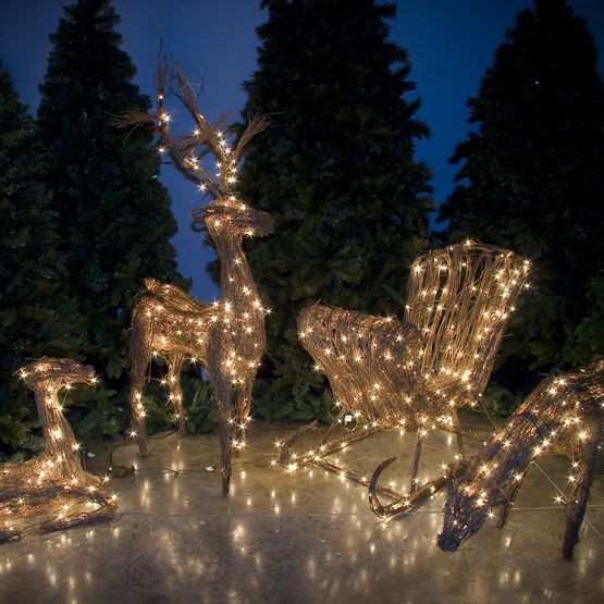 christmas tree 48 grapevine standing reindeer outdoor yard decoration - Outdoor Deer Christmas Decorations