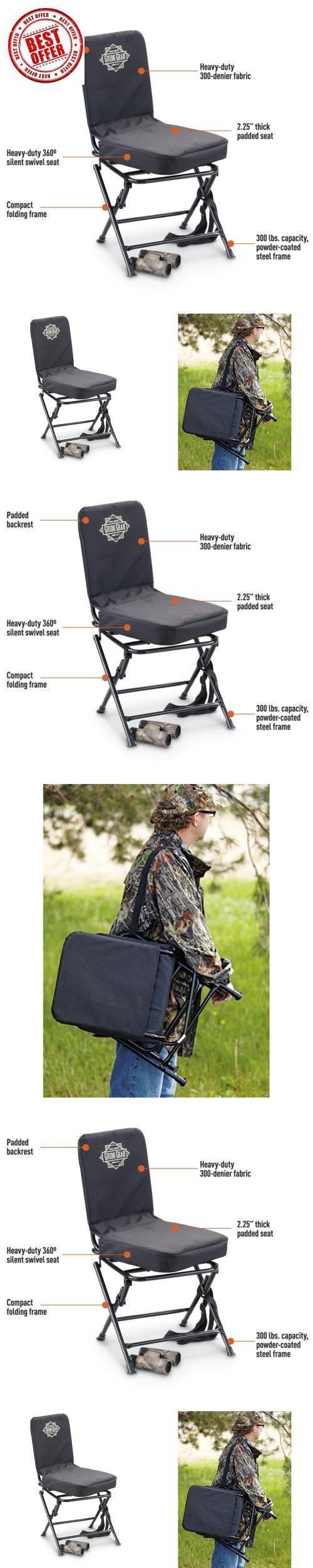 portable hunting chair vanity table swivel folding deer stool turkey padded blind seat back
