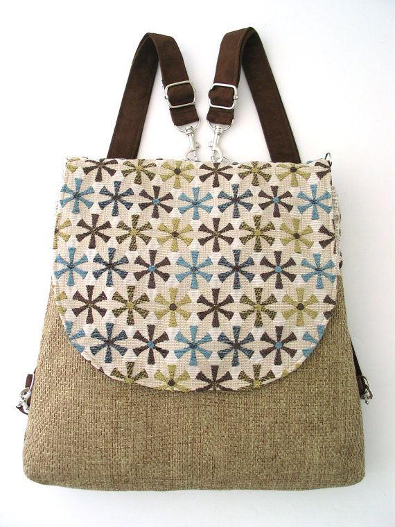 Backpack purse, messenger crossbody bag ,convertible bag, fabric ...