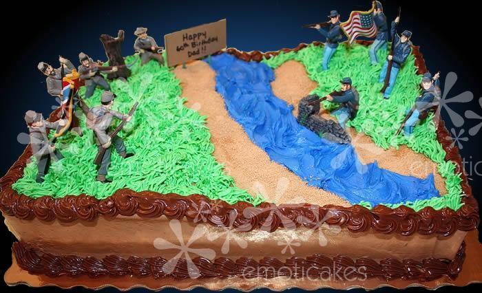 Brown 1 4 Sheet Birthday Cake From Emoticakes Com Civil War