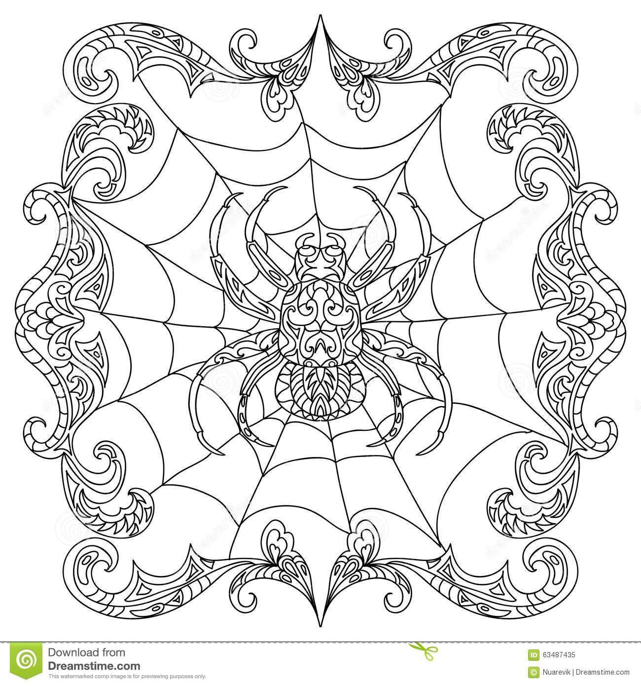 Spider Halloween Party Coloring Pages - Worksheet & Coloring Pages