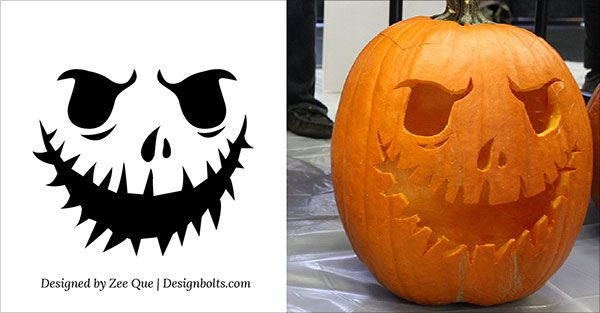 10 Free Printable Scary Halloween Pumpkin Carving Patterns ...