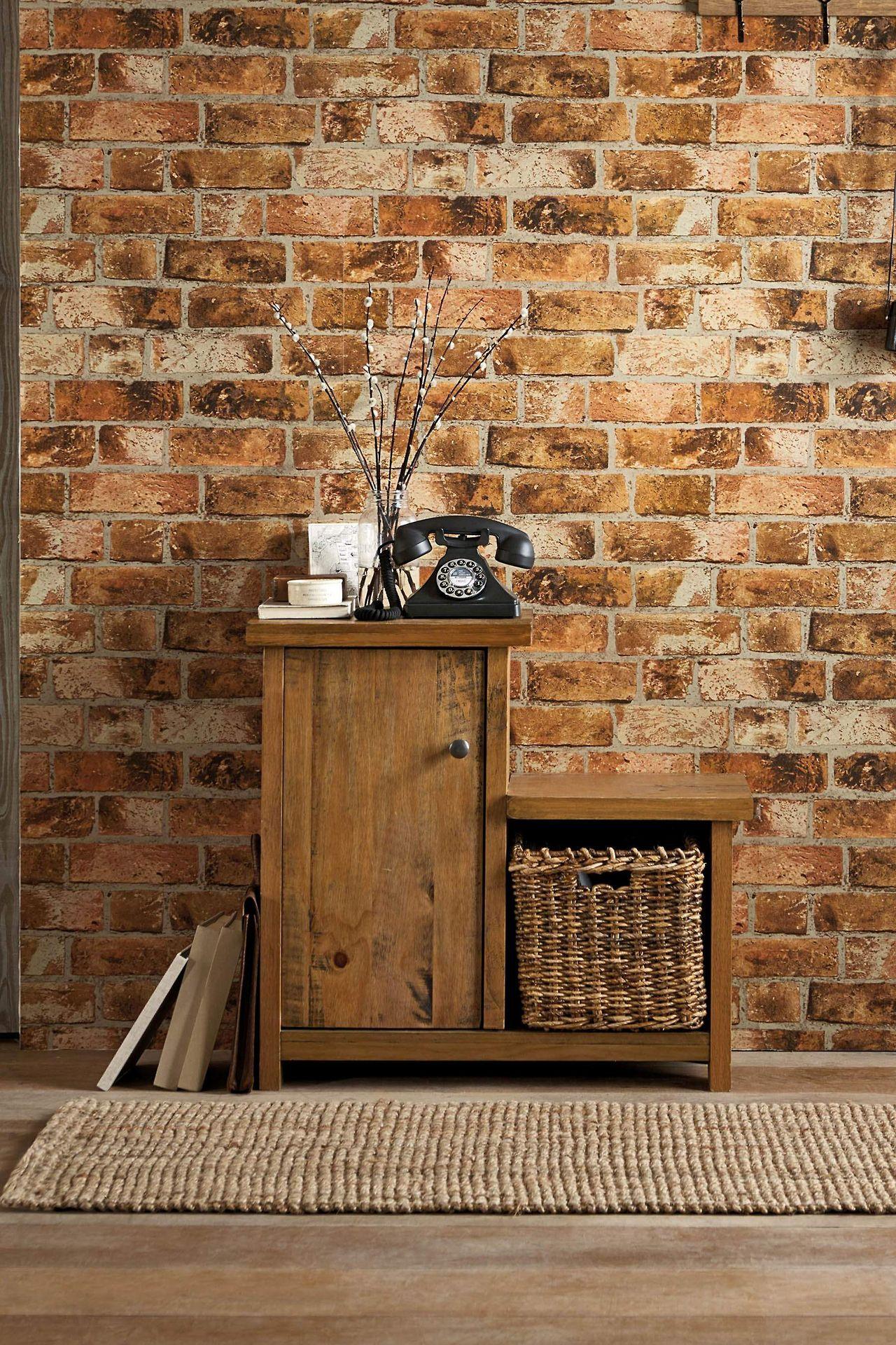 Brick wallpaper Bedroom Pinterest
