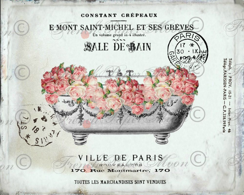 Vintage Digital French Bathtub Shabby Roses Romantic