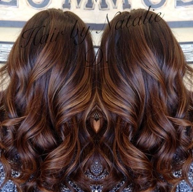 long brown hair with caramel balayage- my dark brown hair looks ...
