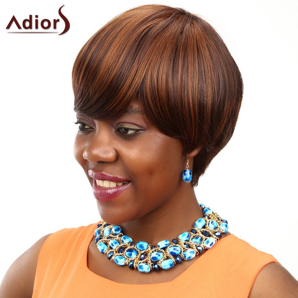 Adiors short straight bob oblique bang colormix synthetic wig click
