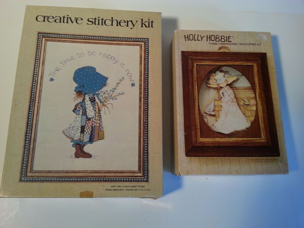 2 vintage holly hobbie craft kits 1972 3 d decoupage 1973 crewel