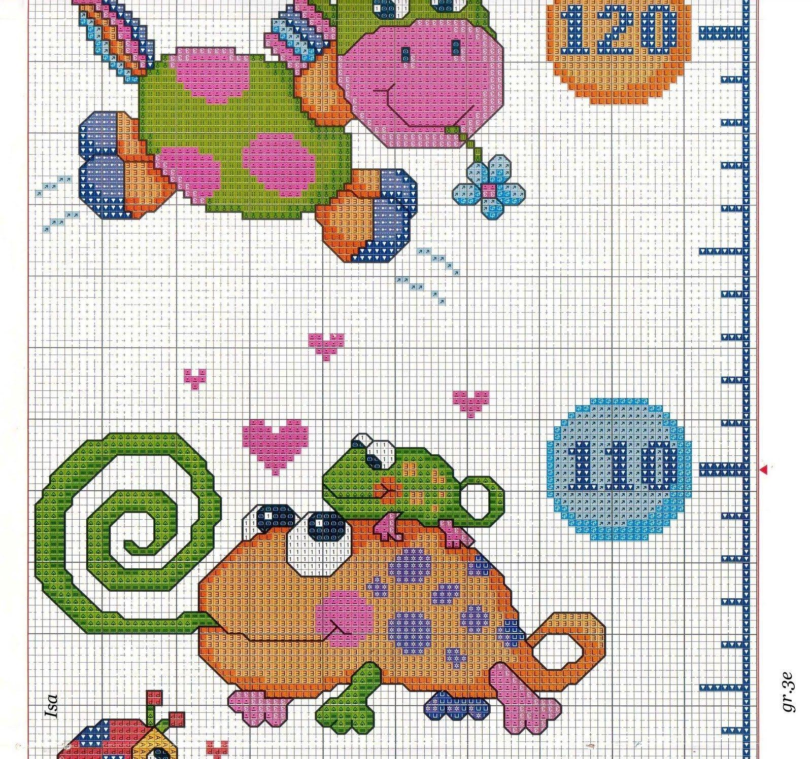 Metro crescita animali colorati 5 9 punto croce metri for Alfabeti a punto croce per bambini