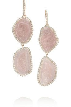 18 Carats Or Rose, Géode Et Boucles D'oreilles Diamant - Taille Kimberly Mcdonald