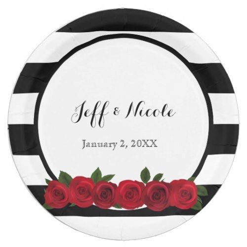 Black u0026 White Stripes Red Rose Elegant Wedding Paper Plate  sc 1 st  Pinterest & Black u0026 White Stripes Red Rose Elegant Wedding Paper Plate | Black ...